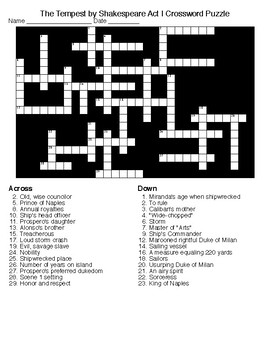 the tempest by shakespeare act i crossword word search keys tpt