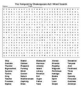 The Tempest by Shakespeare Act I Crossword &Word Search /KEYS