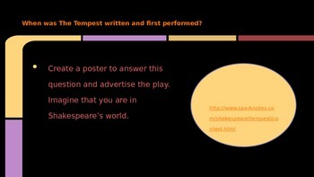 The Tempest by Shakespeare Background Research