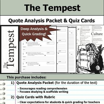 The Tempest by William Shakespeare - Quote Analysis & Reading Quizzes