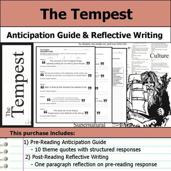 The Tempest by William Shakespeare - Anticipation Guide & Reflection