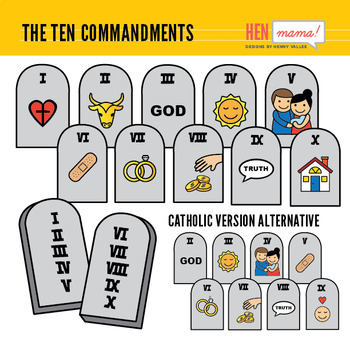 The Ten Commandments Clip Art Set (including Catholic Version alternative)