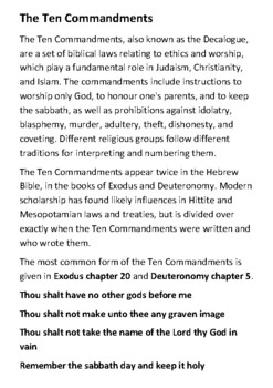 The Ten Commandments Handout with activities