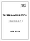 The Ten Commandments Quiz Sheet - No Prep with Teacher's A