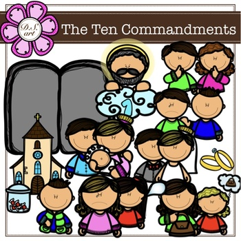 The Ten Commandments digital clipart (color and black&white)