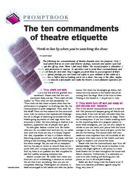 The Ten Commandments of Theatre Etiquette - Article