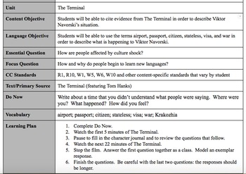 The Terminal (Movie) - Lesson Plans and Activity Guides - Customizable