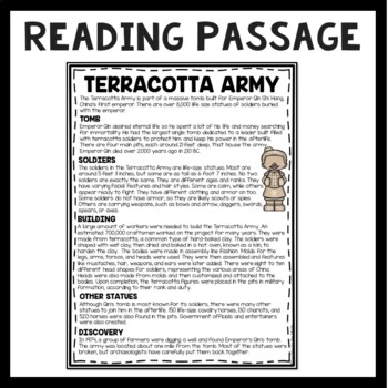The Terracotta Army Reading Comprehension; Ancient China