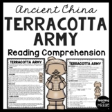 Terracotta Army Reading Comprehension Informational Worksheet Ancient China