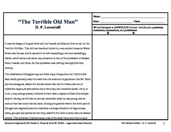 """""""The Terrible Old Man"""" by H.P. Lovecraft: Annotation Organizer"""
