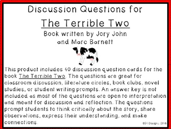 The Terrible Two Discussion Question Cards