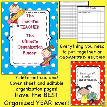Teacher Organization Binder - Teacher Planner - Editable -