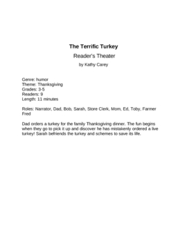 The Terrific Turkey Thanksgiving Reader's Theater