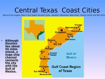 Map Of Texas Gulf Coast Cities.The Texas Gulf Coast Subregions Editable