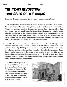 The Texas Revolution: Two Sides of The Alamo Informational Text Test Prep