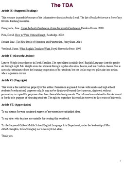 The Text Dependent Analysis (TDA) Workbook