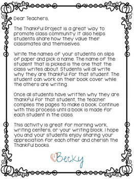The Thankful Project, A Thanksgiving Writing Activity