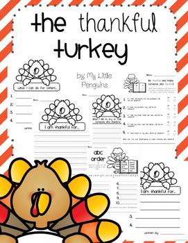 The Thankful Turkey Thanksgiving Writing no prep