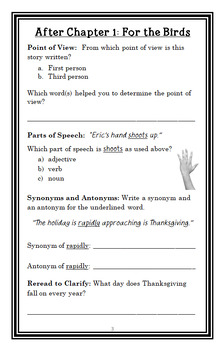 The Thanksgiving Day from the Black Lagoon (Thaler) Novel Study / Comprehension