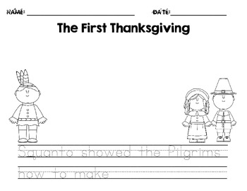 The Thanksgiving Story/The First Thanksgiving Writing Pape