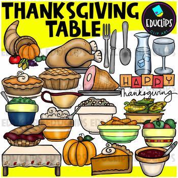 The Thanksgiving Table Clip Art {Educlips Clipart}