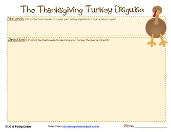 The Thanksgiving Turkey Disguise -Writing a Set of Directions Activity