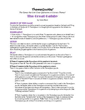 The The Great Gatsby Trivia Game—300+ questions! Classroom Fun!