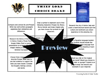 The Thief Lord Choice Board Novel Study Activities Menu Book Project Rubric