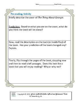 The Thing About Georgie Literature and Grammar Unit