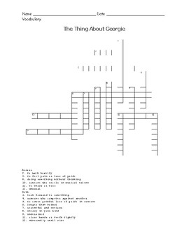 The Thing About Georgie Vocabulary Crossword