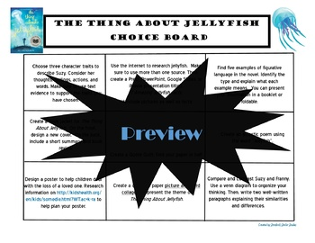 The Thing About Jellyfish Choice Board Tic Tac Toe Novel Activities Project