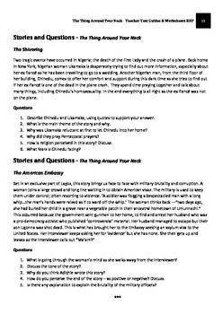 The Thing Around Your Neck - Adichie Teacher Text Guides and Worksheets