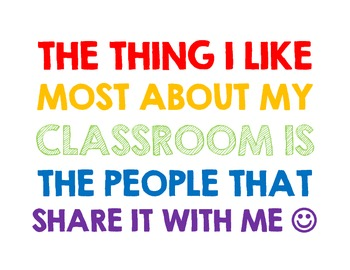 The Thing I Like Most About My Classroom Poster