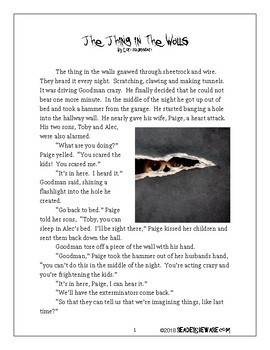 The Thing in the Walls - Short Story and Comprehension Activities