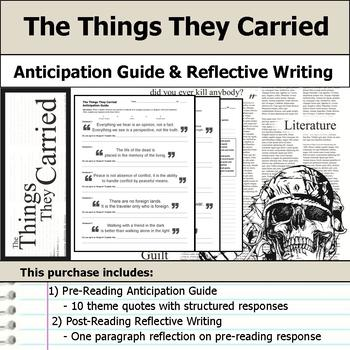 The Things They Carried - Anticipation Guide & Reflection