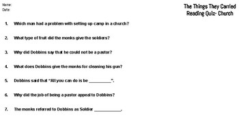 The Things They Carried: Chapter Eleven Reading Quiz (Church)