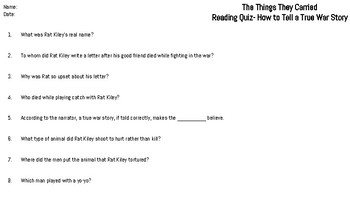 The Things They Carried: Chapter Seven Reading Quiz (True War Story)
