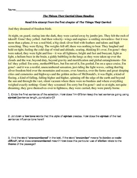 The Things They Carried Close Reading Chapter 1