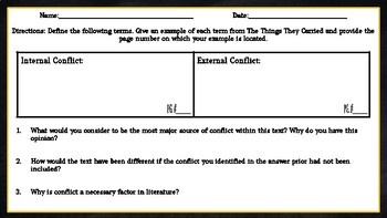 The Things They Carried Conflict Chart Assignment/ Graphic Organizer