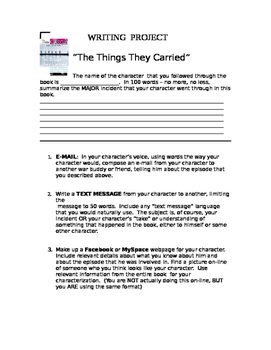 The Things They Carried: Project on character followed throughout book