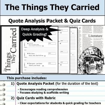 The Things They Carried - Quote Analysis & Reading Quizzes