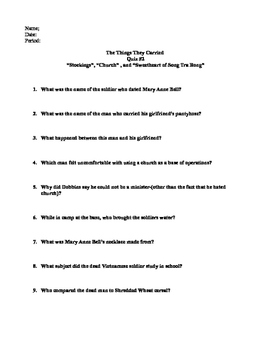 The Things They Carried Reading Quiz- Ch. 10-12