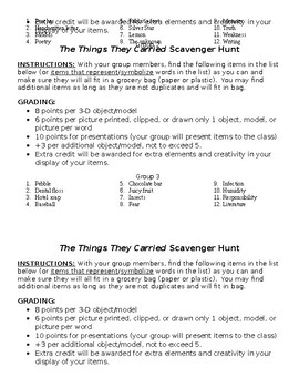 The Things They Carried Scavenger Hunt