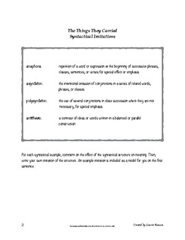 The Things They Carried - Syntactical Imitations; AP Lang and Comp; Syntax