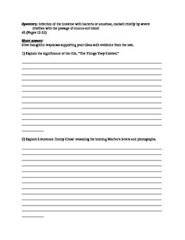 The Things They Carried- OBSERVATION QUALITY lesson plans and worksheets
