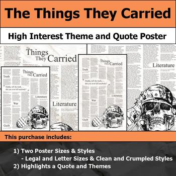 The Things They Carried - Visual Theme and Quote Poster for Bulletin Boards