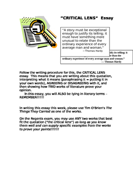 The Things They Carried Critical Lens Essay Topic By Travistips The Things They Carried Critical Lens Essay Topic