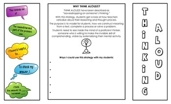 The Think Aloud Strategy Foldable for Teachers & Students