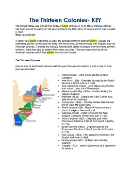 The Thirteen Colonies - CLOZE Reading