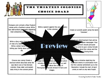The Thirteen Colonies Colonial America Choice Board Social Studies Menu